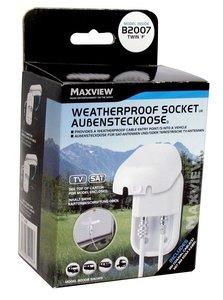 Maxview B2007 Dubbele weerbestendige buitencontactdoos met dubbele F-connectoren - wite kleur